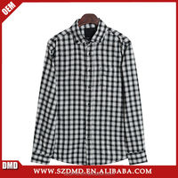 White and black casual check men's baggy shirts