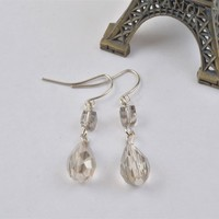 E2628-01Nice Fashion White Cubic & Waterdrop Crystal Beads Dangle Hook Earrings Hypoallergenic
