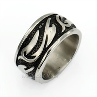 Trendsmax 14mm Vintage Engraved Tribal Swirls Mens Black Gold Silver Tone Band Ring 316L Stainless Steel Ring