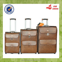 Cheap Designer High Quality Vintage PU Leather Trolley Luggage Travel Bag Sets On 2 wheels For Business