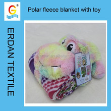 2015 top sell promotional polar fleece blanket with toy for wholesales