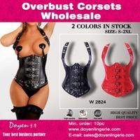 Leather Corset 2015 Women Fashion Sexy steel boning Waist Training Body Shaper full body corset