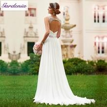 Vestidos De Novia Sexy Flowing Chiffon Beach Wedding Dress Vintage Boho Cheap Wedding Dress 2015 Robe De Mariage Bridal Gown