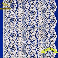 cuerda yjc14830 bordado de apliques de encaje de algodón con volantes de corte