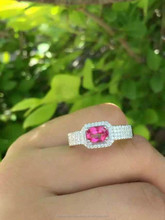 925 Sterling Silver Pink Topaz Oval Ring