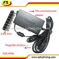 Adjustable 70W Universal notebook power adapter 110-240v