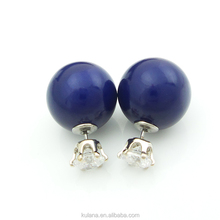 ED-12 Stainless Steel 316 Material Mirror Face Double Pearl Earrings Stud with Zircon