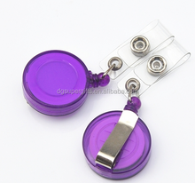 pocketable diy retractable plastic badge holder pull reel with alligator clip for punching card and promotional gift