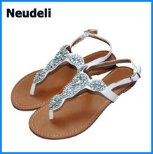 Rhinestone Decorate Women Flats Sandals Cheap Price Summer Women's Sandals Wholesale Flip Flops