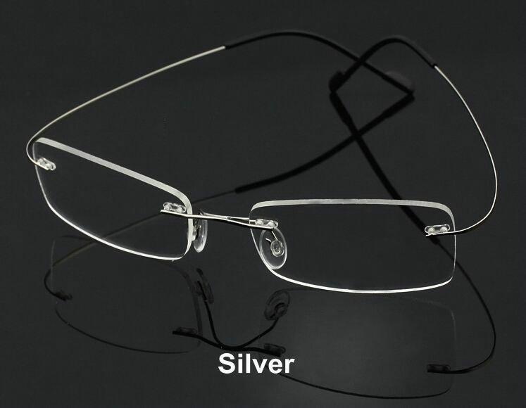 Unisex Rimless Memory Titanum Metal Flexible Optical ...