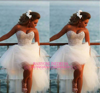 New Arrival Hot High Quality Country Short Front Long Back Sweetheart Ball Gown Peal Beaded Casual Sexy Short Wedding Dresses