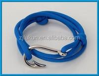 New Arrival 550lb Parachute Rope With Adjustable Knots Fish Hook Paracord Survival Bracelet Silver Anchor Hook Bracelet