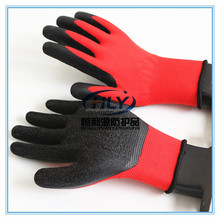red back black latex palm coated working gloves
