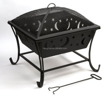 Square Outdoor Fire Pit With Star and Moon