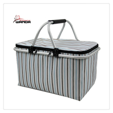 Insulated Folding Picnic Basket -Insulated Cooler with Carrying Handles