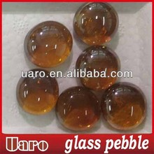 amber color glass pebble /art craft mosaic