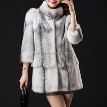 Wholesale fashion elegant medium long grey faux fur jackets women's coats