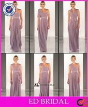 2015 New Designs Ruched Chiffon Floor Length Long Convertible Bridesmaid Dress