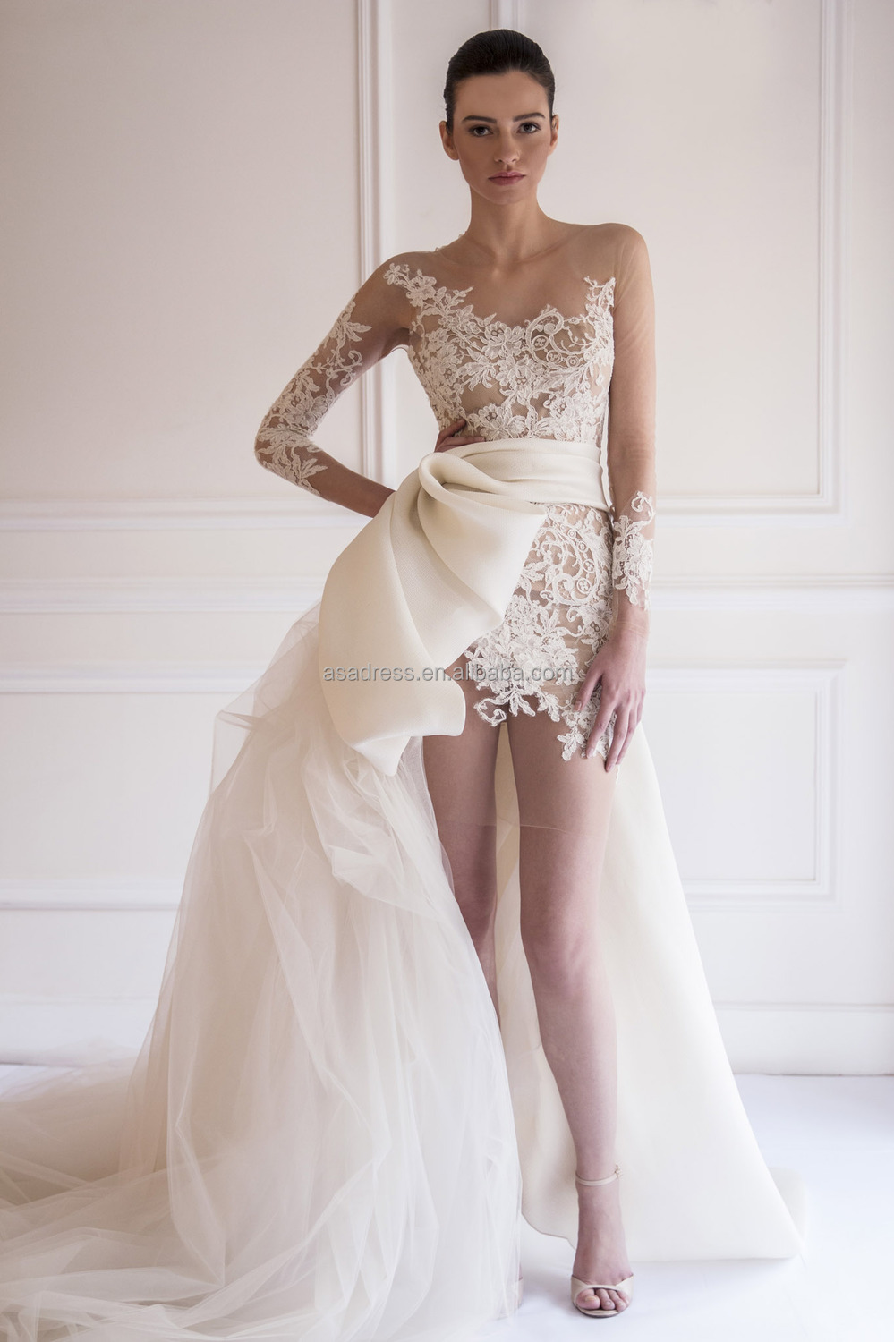 Latest sexy long sleeve bridal gown short wedding dress with long 1008 2 1g junglespirit Image collections