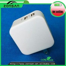 Promotional double usb port AC DC adapter 5v 2.4a with foldable US plug