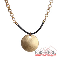 Gold Surface Scratch Metal Disc Pendant Necklace N6-8296A-3200