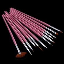 12 Pcs Wood Nail Painting Brushes for Nails Art Nylon Brush Set