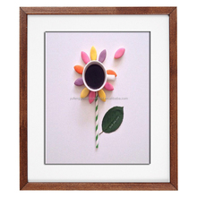 cheap flower picture frame wood photo frame with MDF backboard