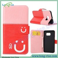 High Quality Smile Face Wallet Stand Cover Leather Flip Case for Samsung Galaxy Note 5 Edge