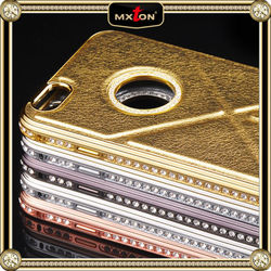 Best Factory Direct Sales Custom Design Diamond Setting Leather Portfolio Case For Iphone 5