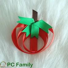 Apple ribbon hair clips