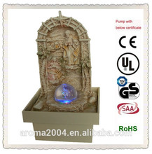 Resina religiosa cristiana artículo sagrada familia estatua fuente de agua