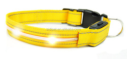 CE RoHS dog safety led collar, yellow led dog collars