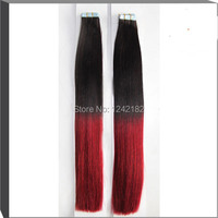 Tape hair extensions peruvian straight virgin hair 40 /trace #1B