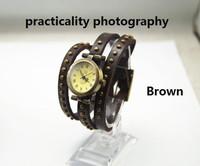 freeshipping Punk series real leather band women's wrist watch