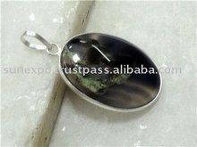 Stripped Onyx 925 STERLING SILVER PENDANT 29MM P306