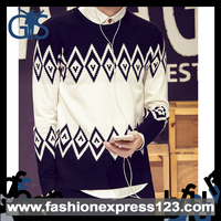 2015 men pullover Tailored fit for diamond pattern sweater