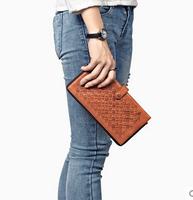 Fifteen Sixteen long wallet leather handbag leather zipper tide female hand woven wallet.