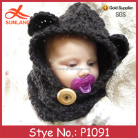 P1091 hand knit winter animal bear crochet baby boy hat pattern wholesale