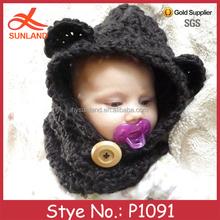 P1091 hand knit winter animal bear crochet baby boy hat pattern wholesale