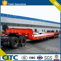4 axles concave type mining area trailer low bed transport excavator goose neck detachable