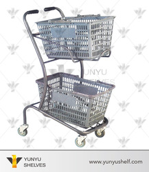 double basket powder coated shopping cart trolley