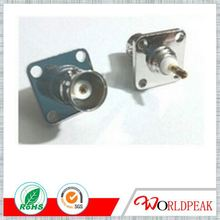 Electronic connector bnc female 25.4mm sq panel mount solder pin
