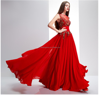Fashion High Neck Appliqued Red Chiffon turkish evening dresses FXL-656