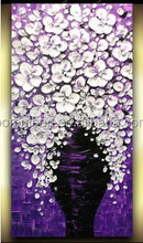 Abstract Modern Decor Oil Painting Hand Painted purple white Knife Canvas Wall painting Textured Palette Corridor wall Art