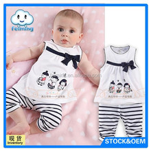 new style summer cotton top girls ruffly tank top wholesale baby baba suits