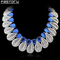 Elegant Crystal Leaf Shaped Anniversary Choker Statement Necklace For Woman Fashion Jewelry Wholesale China