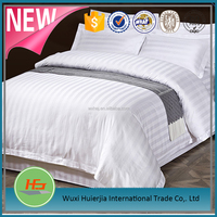 5 star hotel used white 1cm/3cm stripe high quality luxury bedding sets