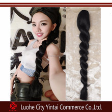 2015 curly ponytails clip hairpieces braids,ponytail clip in braided extensions hair