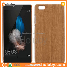 hot new products Wood Grain Leather Coated PC Hard Case for Huawei Ascend P8 Lite