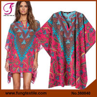 380040 NEW 2015 Digital Print Beachwear Resort Wear Kaftan